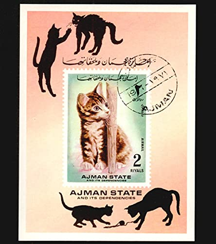 FGNDGEQN Colección de Sellos Ajiman Emirates 1971 Pet Cats, no-Tooth Stamp, Small Stamps Have Been Stained