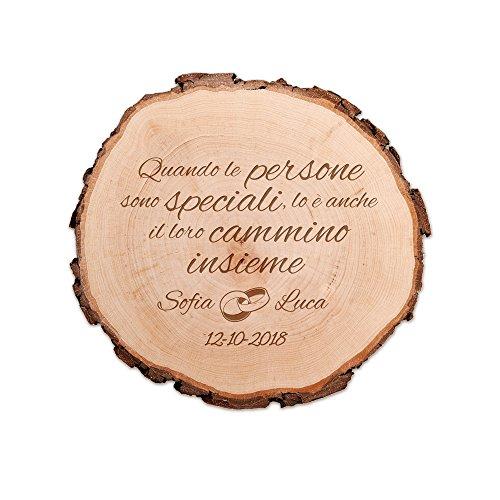 Casa Vivente Fetta di Tronco d'Albero per Coppie con Incisione Romantica Personalizzata con Nomi e Data, Persone Speciali, Accessori Decorativi Casa