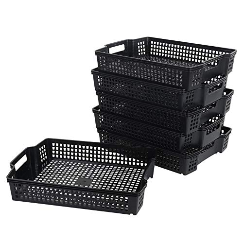 Bringer Set di 6 cestini portaoggetti impilabili in plastica, nero