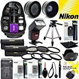 Giant All You Need Accessory KIT for Nikon D3100 D3200 D5000 D5100 with Backpack Tripod Flash TELEPHOTO Lens Wide Angle Lens Filter KIT Remote Control Close UP Lenses 2 EN-EL14 Batteries and Charger