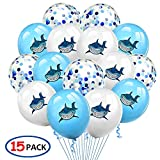 Baby shark latex balloons,Grier Shark theme kid's party supplies,Under the sea baby shark party decorations,Shark birthday party favor supplies(15pcs)