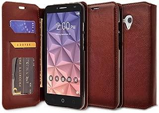 Alcatel OneTouch Fierce XL, Flint, Pixi Glory Case - Wydan Leather Wallet Style Case Folio Flip Foldable Kickstand Credit Card Cover - Brown