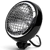 Krator 6' Black & Chrome Motorcycle Headlight Mesh Grill High Low Headlamp Bottom Mount