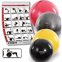 POWRX Deluxe - Pelota de gimnasia, yoga, pilates, color antracita, tamaño 85 cm