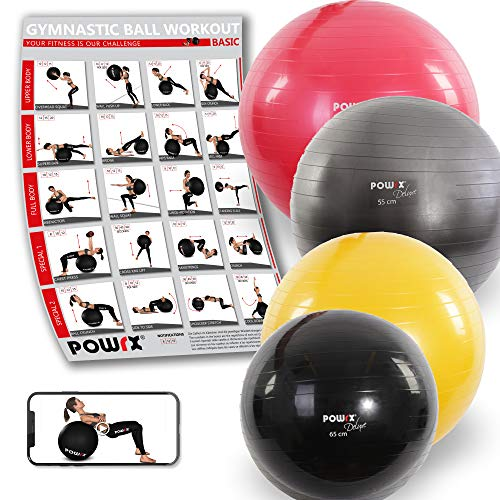 Powrx Deluxe Gym Ball, Yoga, Pilates, Gymnastikball Sitzball Deluxe...