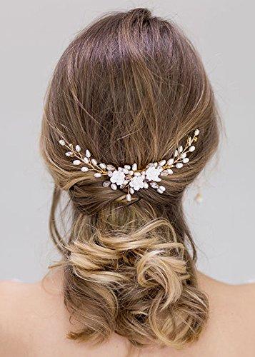 Kercisbeauty Haarkamm mit weißer Blume und Süßwasserperlen, filigraner Vintage-Haarkamm für Hochzeit, Braut, Brautjungfern, Blumenmädchen, Brautschmuck, Haarschmuck, Accessoire für lange und gelockte Haare und Steckfrisuren