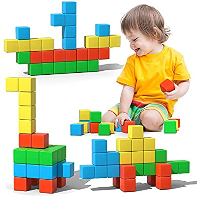 Magnetic Blocks, 28 Pieces 1.34 inch Large Magnetic Building Blocks, 3D Magnetic Cubes for Kids, Preschool Educational Construction Kit, Sensory Montessori Toys Kids Blocks for Boys Girls Toddlers by Asago