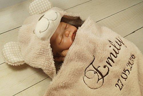 Zweilagige Babydecke mit Namen und Datum bestickt - Wagendecke - 3D Motiven - (Beige Teddybär) (302022)