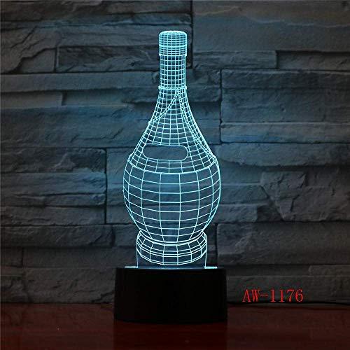 Lámpara De Ilusión 3D Luz De Noche Led Lámpara De Mesa De Modelado De Copa De Vino 7 Regalos De Navidad Acrílicos Coloridos Decoración De Dormitorio Para Niños