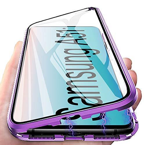Handyhülle für Samsung Galaxy A51 Hülle Magnetic Adsorption, E-Lush Schutzhülle 360 Grad Komplett Schutz Hülle 2 in 1 Metall Bumper mit Gehärtetes Glas Ultra Dünn Transparent Case Cover, Lila