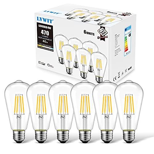 Lampadina LED Attacco E27, 4W Equivalnti a 40W, 470Lm, Luce Bianca Calda 2700K, LVWIT Forma ST64, Edison stile, Lampadine LED a Filamento Vintage, Confezione da 6 Pezzi
