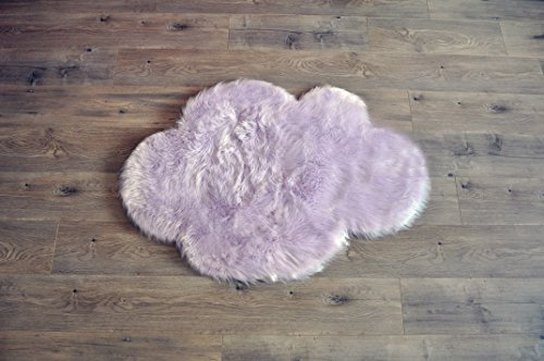 Machine Washable Faux Sheepskin Lavender Cloud Area Rug 32' x 44' - Soft and Silky - Perfect for Baby's Room, Nursery, playroom (2' 7' x 3' 7') - Lavender Cloud