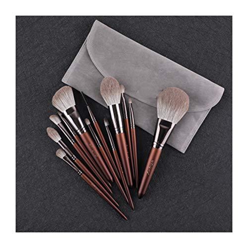 GYYARSX Pinceaux De Maquillage Makeup Brushes Poudre Libre Le Fard À Paupières Correcteur Brosse À Sourcils avec Sac De Rangement, Marron, 12 Pièces (Color : Brown, Size : 12 Pcs)