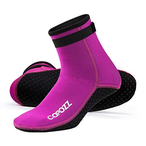 COPOZZ 3mm Tauchsocken Neoprensocken für Erwachsene Damen Herren, Dicke Tauchsocken Wassersport Schwimmen Socken für Schwimmen, Schnorcheln, Segeln, Surfen Wassersport,Rosa,L