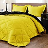 downluxe Lightweight Solid Comforter Set (Queen) with 2 Pillow Shams - 3-Piece Set - Lemon and Black - Down Alternative Reversible Comforter