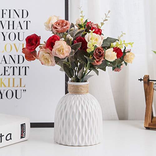 Umerbee - Vaso in ceramica, Moderno Casa Decorazione Vaso in porcellana, Fiori Vaso per Mazzi di rose artificiali, Fiori finti per la tabella Ufficio Nozze, 15,9 x 10,7 cm, Colore Bianco