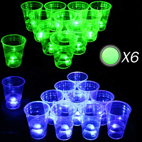 Glow in The Dark Beer Pong Set-Light up Beer Pong Cups for Indoor Outdoor Nighttime Competitive Fun,22 Glowing Cups(11 Green &11 Blue), 6 Glowing Balls- Party Game