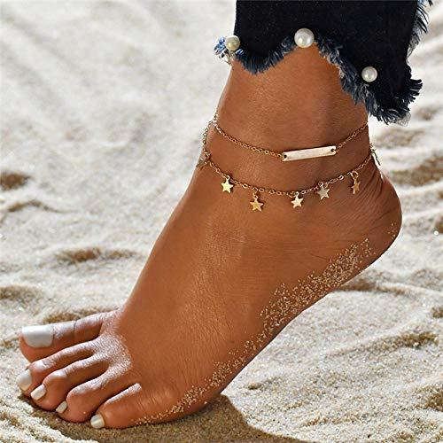 JEFEYI Tobillera de Playa Pulsera de Cristal Bohemia, Conjunto de Moda Hecho a Mano, Pulsera de Tobillo para Mujer, Cadena de Verano, pies de Playa, joyería descalza-50261