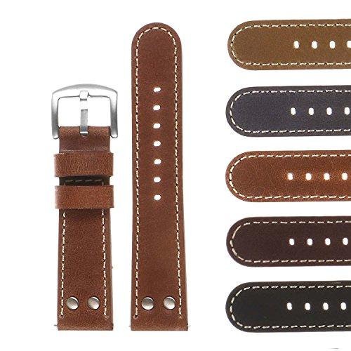 Dassari - Cinturino in pelle vintage a sgancio rapido, con rivetti...