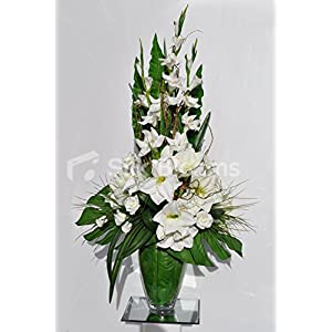 Silk Blooms Ltd Gorgeous Artificial Fresh Touch White Amaryllis and Gladioli Floral Arrangement with Twigs