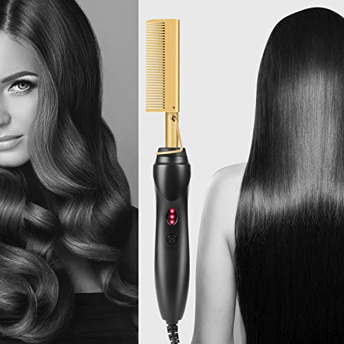 Gold Plated Heated Styling Comb Electric Hot Straightening Heat Pressing Comb Ceramic Curling Flat Iron Curler Designed Hair Straightener for Natural Black Hair,Wigs,Beards