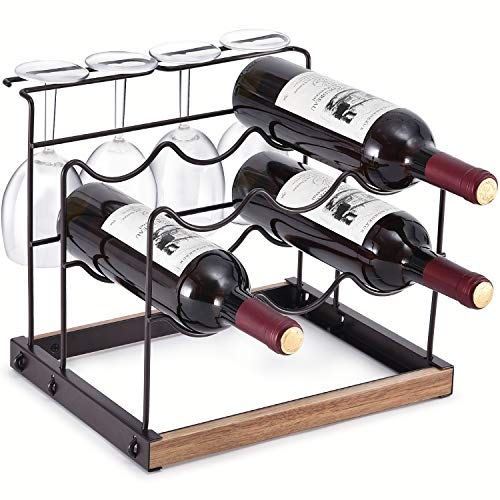 KINGRACK Weinregal für 6 Flaschen, Arbeitsplatten-Weinflaschenhalter, Metall-Kupfer-Weinglas-Halter, Wein-Aufbewahrung, Organizer, freistehend, 2 Etagen, Wein-Ausstellungsregale