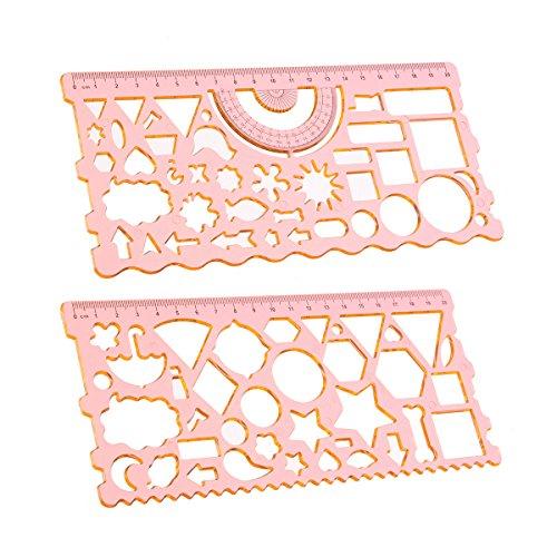 MYAMIA 2Pcs 20Cm Geometrische Figur Protraktor Symbole Zeichnung Schablone Lineal Setzen Sudent Entwurfs Schablone