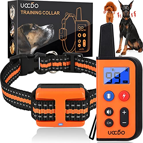 professional dog training collars UCCDO Dog Training Collar with Remote, IP69 Waterproof Shock Collars for Dogs with Remote Range 2660Ft 3 Training Modes 0-99 Vibration Shock and Beep Sound Collar for Small Medium Large Dogs
