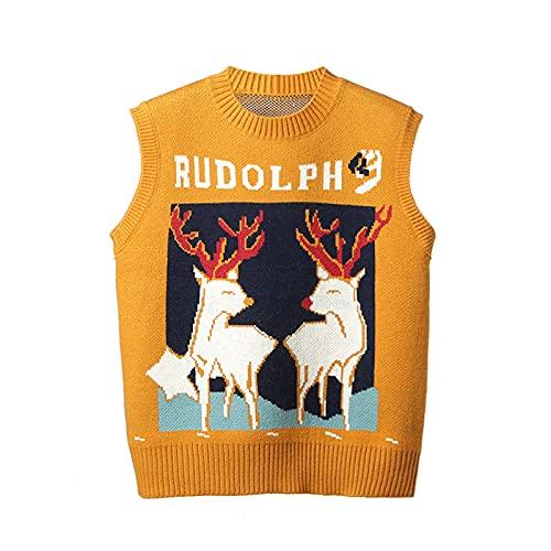 Evilib Jersey de punto suelto para mujer, sin mangas, cuello redondo, diseño de reno, amarillo, M