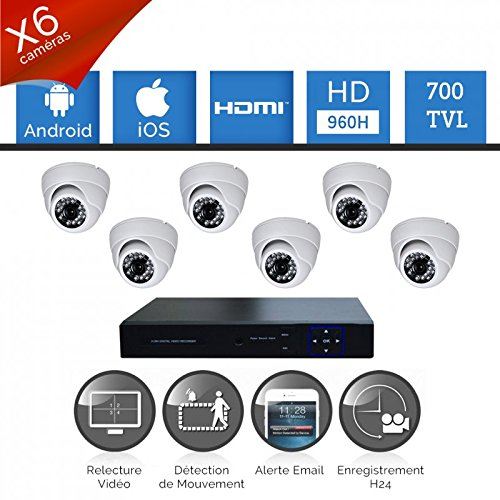 'Kit Videosorveglianza 6Telecamere HD Sony 700TVL–senza hard disk, 6Cavi di 40m Alimentazione e Video, schermo 22, garanzia 2anni