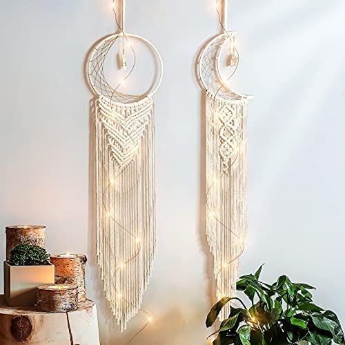 Bestcool Atrapasueños LED, 2 Piezas de atrapasueños Bohemio Hecho a Mano de Macramé para Colgar en la Pared, Atrapasueños con luz LED para Decoración de Bodas, Regalo de Bendición