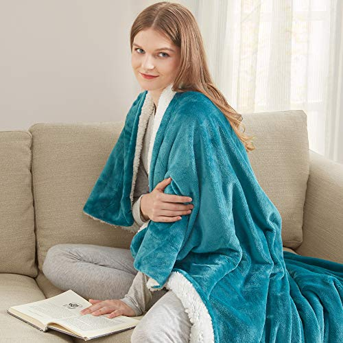 Degrees of Comfort Reversible Soft Throw Blanket - Warm Fuzzy Sherpa & Soft Fluffy Fleece | Sherpa Couch Blankets for Kids Sofa Bed | 4 Sizes 10 Colors Great Home Gift, 50x60 Ocean Blue