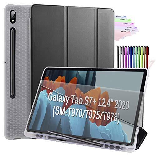 A-BEAUTY Funda para Galaxy Tab S7 Plus de 12,4' 2020 (modelo SM-T970 / T975 / T976), con [reposo/activación automática] [S soporte para bolígrafo] Soft TPU Translúcido Trifold Funda, Negro
