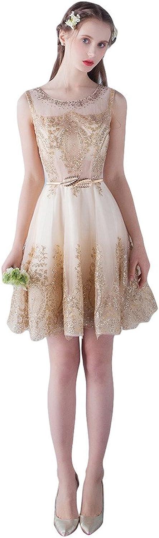 BessWedding Women's Short Bead Applique Tulle Sleeveless Party Evening Dress