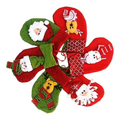 Calze di Natale Decorazioni calzini Decor Santa Snowman Reindeer Set di 6