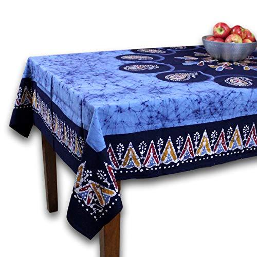 Homestead Block Print Tablecloth 60x90 for Rectangle Tables Blue Cotton Authentic Batik Floral Paisley Design Kitchen Table Linen