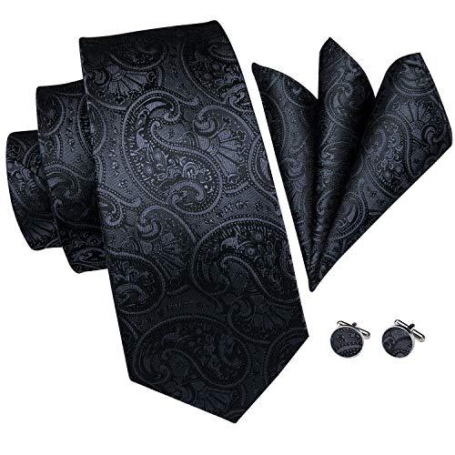 Hi-Tie Männer Paisley Klassische Krawatte Krawatte mit Manschettenknöpfe und Einstecktuch Krawattenset