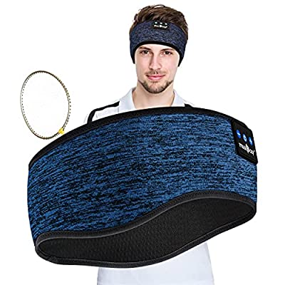 Sleep Headphones,Bluetooth Sport Headband Wireless Music Sleeping Headphones with Ultra-Thin Speakers Microphones Long Time Play for Travel Office Runnnung Yoga Sideways(Blue) from Ink-topoint