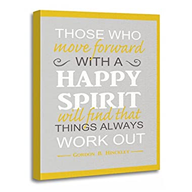 TORASS Canvas Wall Art Print Yellow Mormon Lds Inspiratinal Gordon Hinckley Quote Gray Inspirational Artwork for Home Decor 12  x 16