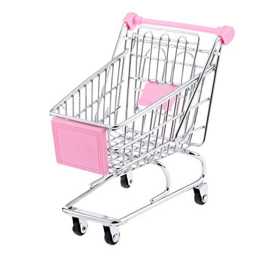 Blesiya Mini Supermarkt Schubkarre Einkaufswagen Warenkorb für Kinder Rollenspiel Spielzeug - 14 x 14,5 x 9,5 cm - Rosa