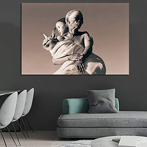Oude man knuffel natuur canvas kunst muurschildering print woondecoratie frameloze schilderij 75x112cm