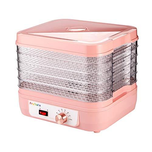 QIA Haushaltskleiner elektrischer Dörrapparat für Nahrungsmittel, 35-70 ℃ Knopf-Temperatureinstellung Abnehmbarer 5-lagiger 360 ° -Zyklus-Heizungs-Speisentrockner, Rosa