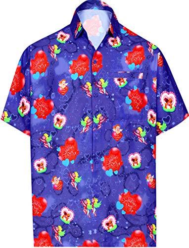 LA LEELA el hawaiano de los hombres para el regalo del día de San Valentín para él presenta la camisa de corazón lindo amor parejas cita romántica hombres del partido del tema de la hawaiana SAN VALEN