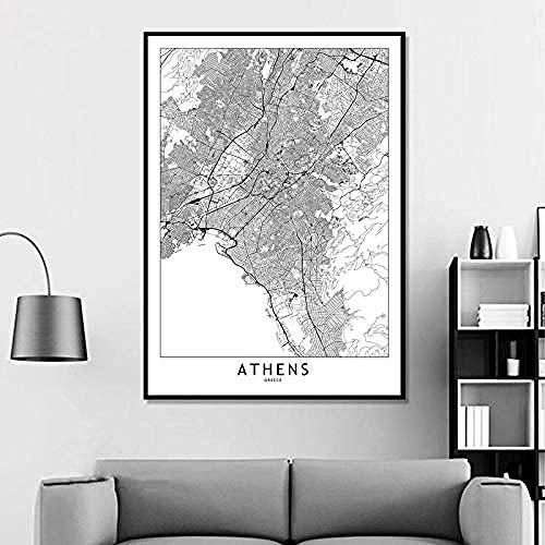 Atene Mappa della città del mondo personalizzata bianco nero Poster Immagini Stampa su tela Stile nordico Wall Art Quadri su tela per decorazioni per la casa Senza cornice -28x40_Inch (70cmX100cm)