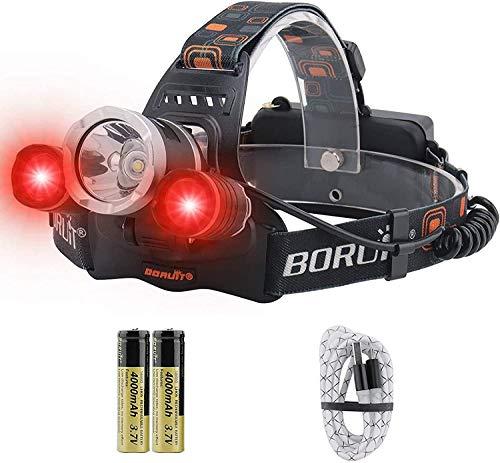 BORUiT Proyector LED RJ-3000 Ultra Bright 5000 Lumens, LED blanco y rojo, IPX4 Resistente al agua, Linterna frontal recargable USB Perfecto para la carrera, Camping, Excursión