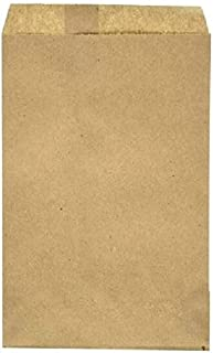 RJ Displays-100 Pack Brown Kraft Paper Bags Flat Merchandise Bags for Crafts, Books, Magazines Shopping Sales Tote Bags Ma...