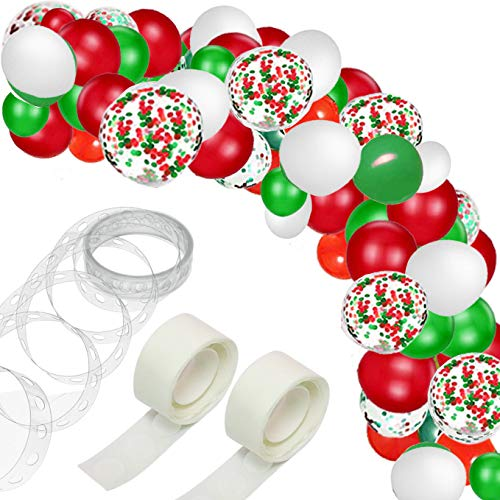 Christmas Balloon Arch & Garland Kit - 16Ft Long Red Green Latex Balloons Confetti Balloons for Christmas New Year Party DecorationsKit Balloon Arch Garland for Wedding Birthday Party Decorations (Ch