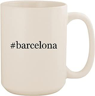 #barcelona - White Hashtag 15oz Ceramic Coffee Mug Cup