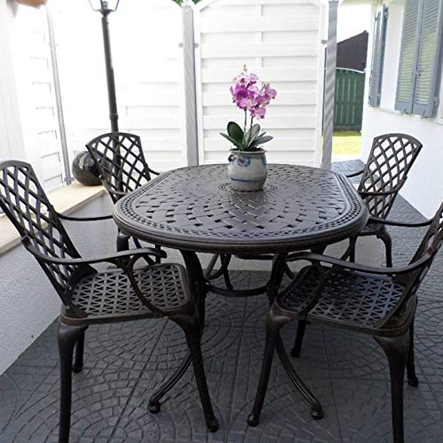Lazy Susan June 4 Seater Oval Sand-cast Aluminium Garden Furniture Set, Maintenance-free, Weatherproof, Antique Bronze Finish, Matching Emma Chairs, Jasmine Bench| Stone Cushions