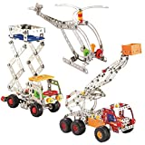 3 Vehicle Metal Construction Set, Construction Models with Metal Beams and Screws 691 Pieces